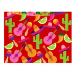 Fiesta Party Sombrero Limes Guitar Maraca Saguaro Postcard