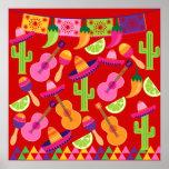 Fiesta Party Sombrero Limes Guitar Maraca Saguaro Posters