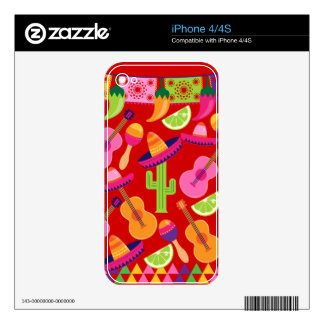 Fiesta Party Sombrero Limes Guitar Maraca Saguaro Decal For The iPhone 4