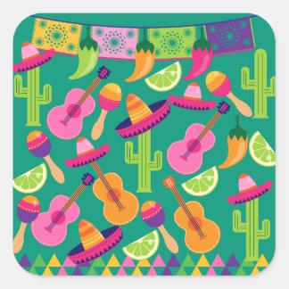 Fiesta Party Sombrero Limes Guitar Maraca Saguaro Square Sticker