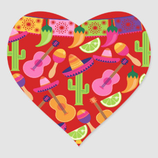 Fiesta Party Sombrero Limes Guitar Maraca Saguaro Heart Stickers