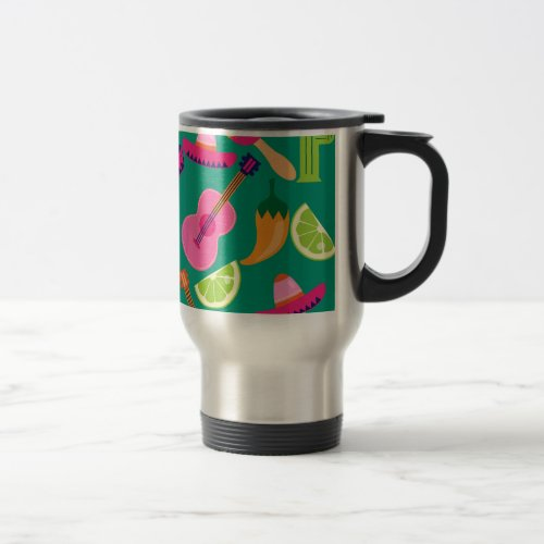 Fiesta Party Sombrero Limes Guitar Maraca Saguaro Travel Mug
