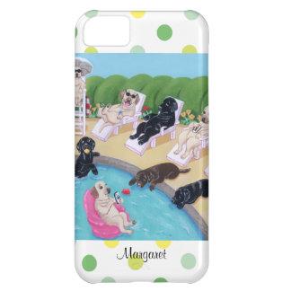 Fiesta personalizado Labradors del Poolside Funda Para iPhone 5C