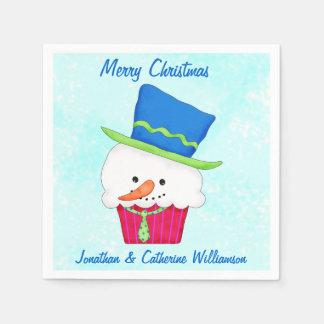 Fiesta personalizado magdalena del muñeco de nieve servilleta desechable