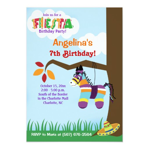 Fiesta Pinata Cinco de Mayo Birthday Invitations