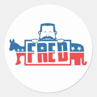 Fiesta político de Fred Pegatina Redonda