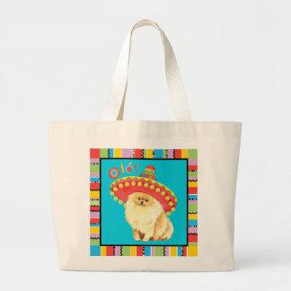 Fiesta Pomeranian Bolsa De Tela Grande