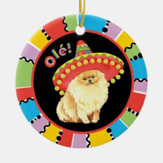Fiesta Pomeranian Ceramic Ornament