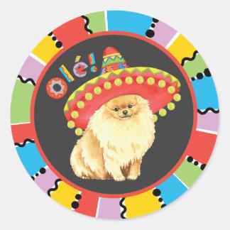 Fiesta Pomeranian Classic Round Sticker