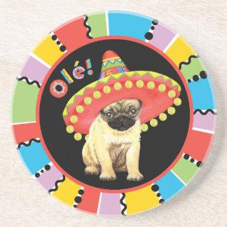 Fiesta Pug Drink Coaster