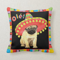 Fiesta Pug Throw Pillow