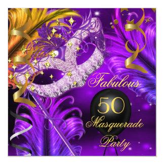 """Fiesta púrpura 2 de la mascarada del oro del invitación 5.25"""" x 5.25"""""""