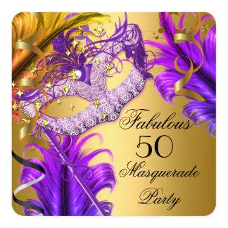 """Fiesta púrpura 3 de la mascarada del oro del invitación 5.25"""" x 5.25"""""""
