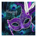 Fiesta púrpura azul de la mascarada del pavo real  comunicado personal