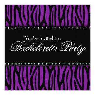 """Fiesta púrpura de Bachelorette de los diamantes de Invitación 5.25"""" X 5.25"""""""