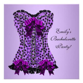 Fiesta púrpura de Bachelorette del corsé púrpura d Invitacion Personal