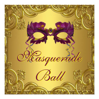 Fiesta púrpura de la bola de mascarada de la másca invitacion personalizada