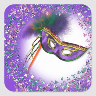 Fiesta púrpura de la mascarada de la máscara de la pegatina cuadrada