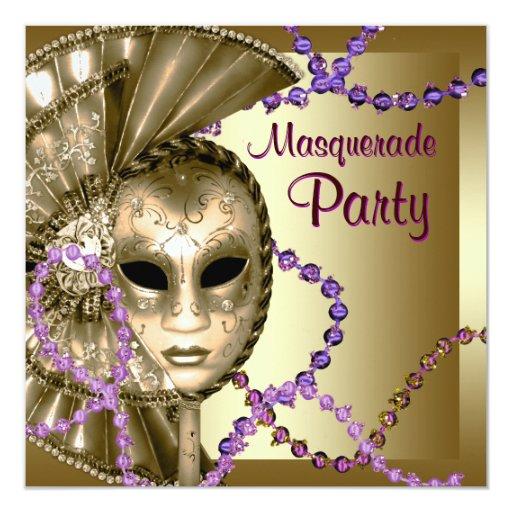 """Fiesta púrpura de la mascarada de las gotas del invitación 5.25"""" x 5.25"""""""
