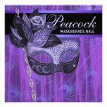 Fiesta púrpura de la mascarada de las plumas del p comunicados personalizados