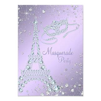 """Fiesta púrpura de la mascarada de París de la lila Invitación 5"""" X 7"""""""