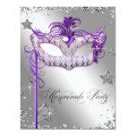 Fiesta púrpura de la mascarada del confeti de invitación 10,8 x 13,9 cm
