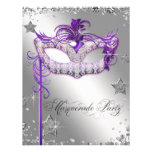 Fiesta púrpura de la mascarada del confeti de plat invitacion personalizada
