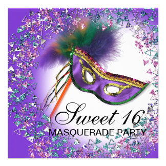 Fiesta púrpura de la mascarada del dulce 16 de la invitacion personalizada