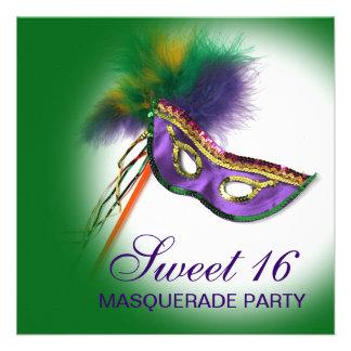 Fiesta púrpura de la mascarada del dulce 16 de la invitación personalizada