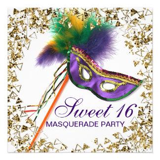Fiesta púrpura de la mascarada del dulce 16 de la anuncio