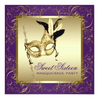 """Fiesta púrpura de la mascarada del dulce dieciséis invitación 5.25"""" x 5.25"""""""