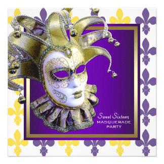 Fiesta púrpura de la mascarada del oro del dulce d invitacion personal