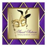 Fiesta púrpura de la mascarada del oro del dulce invitación