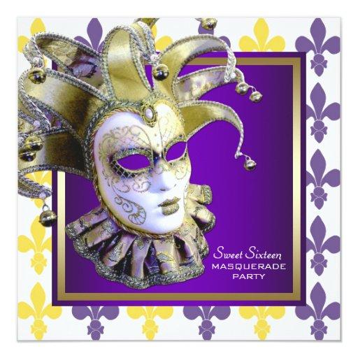 Fiesta púrpura de la mascarada del oro del dulce invitacion personal