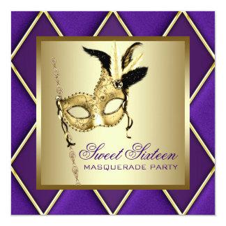 """Fiesta púrpura de la mascarada del oro del dulce invitación 5.25"""" x 5.25"""""""