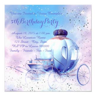 """Fiesta púrpura de la princesa cumpleaños del invitación 5.25"""" x 5.25"""""""