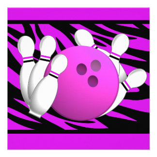 Fiesta púrpura de neón de los bolos de la raya de  invitacion personal