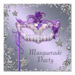 Fiesta púrpura de plata elegante de la mascarada invitación 13,3 cm x 13,3cm