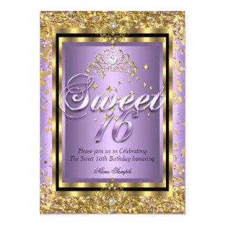 """Fiesta púrpura de princesa Sweet 16 de la lavanda Invitación 5"""" X 7"""""""
