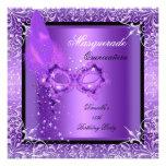 Fiesta púrpura de Quinceanera de la máscara de la  Comunicados
