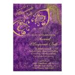 Fiesta púrpura del carnaval de la bola de invitación 12,7 x 17,8 cm