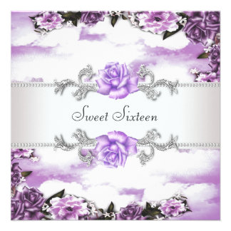 Fiesta púrpura del dulce 16 de los rosas púrpuras invitaciones personalizada
