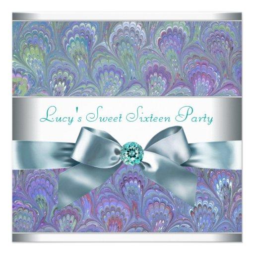 Fiesta púrpura del dulce 16 de Paisley del pavo re Anuncios