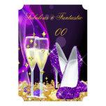 Fiesta púrpura fabuloso 2 de Champán de los Invitación 12,7 X 17,8 Cm