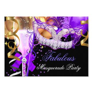 """Fiesta púrpura fabuloso 3 de la mascarada del invitación 5"""" x 7"""""""
