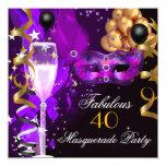Fiesta púrpura fabuloso de la mascarada del negro invitación 13,3 cm x 13,3cm