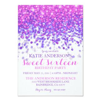 """Fiesta púrpura rosado del dulce dieciséis del invitación 5"""" x 7"""""""