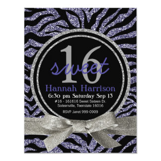 Fiesta púrpura salvaje del dulce 16 de la cebra de invitacion personal