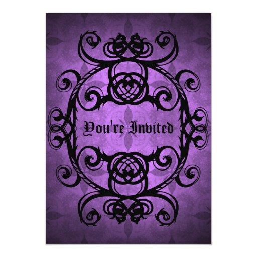 """Fiesta púrpura y negro del damasco gótico elegante invitación 5"""" x 7"""""""