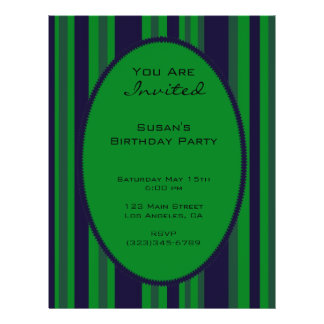 fiesta rayado azulverde flyer personalizado